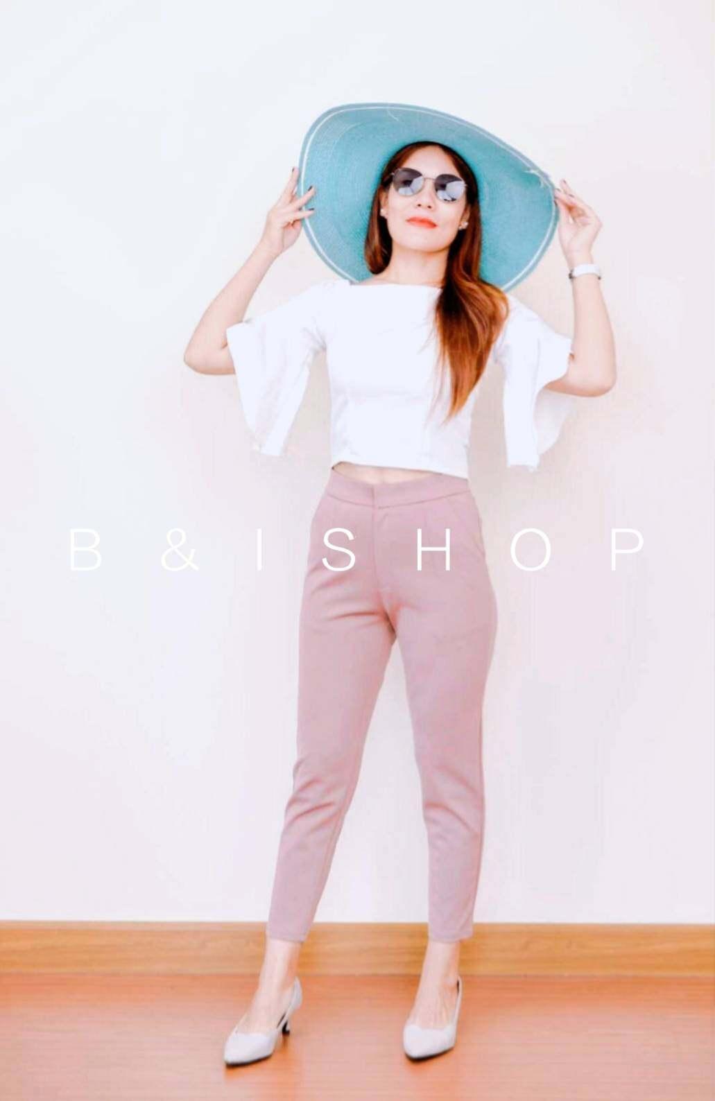 กางเกงผู้หญิง กางเกงทำงานขายาว 7 ส่วน เอวสูง ผ้าโรเชฟ ตะขอซิปหน้า ยาว 33 นิ้ว ผ้านิ่มใส่สบาย