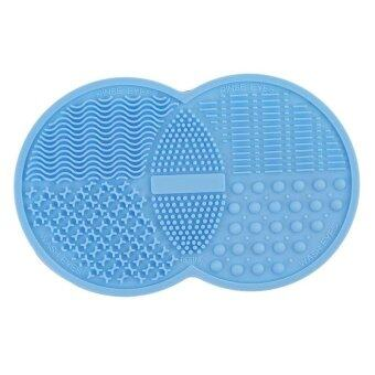Harga Ai Home Silicone Makeup Brush Cleaning Mat Pad Cleaner Scrubber Tool (Blue)