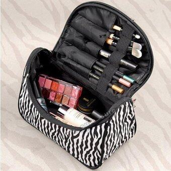 Harga Fashion Ladies Nylon Cosmetic Bag Zebra Stripes Gold Makeup Bag Cosmetic Bag - intl