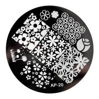 Harga Round DIY Nail Stamp Plate Manicure Design Stainless Steel Reusable