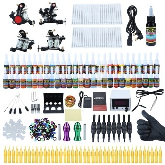 Harga SH Solong Professional Complete Tattoo Kit Shader Liner Wrap Coils Gun Equipment Machine Needles Power Supply Color Ink Set Black size:uk plug Black - intl