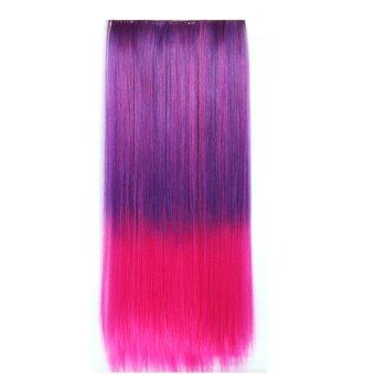Harga One Piece Synthetic Straight Two Tone Ombre Hairpiece Clip-on Wig Hair Extension Beauty Tool Purple to Pink