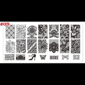 Harga New Designs Nail Art Plates Flowers Templates Polish Rectangle Stencil