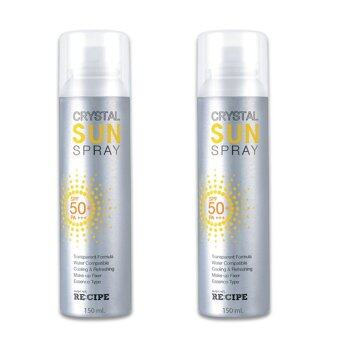 Harga Recipe CRYSTAL SUN SPRAY SPF 50+ PA+++150 ml (ขวด2)