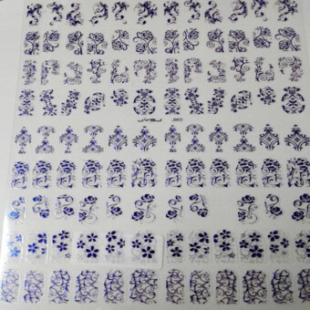 La Vie 108pcs 3D DIY Flower Nail Stickers Manicure Decals StampingFrench Nail Art(Royalblue)