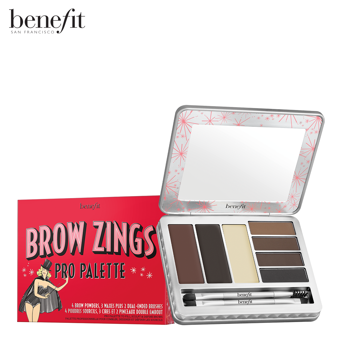 Benefit เบเนฟิต เซ็ตตกแต่งคิ้ว Brow Zings Pro Palette Eyebrow Wax And Powder.
