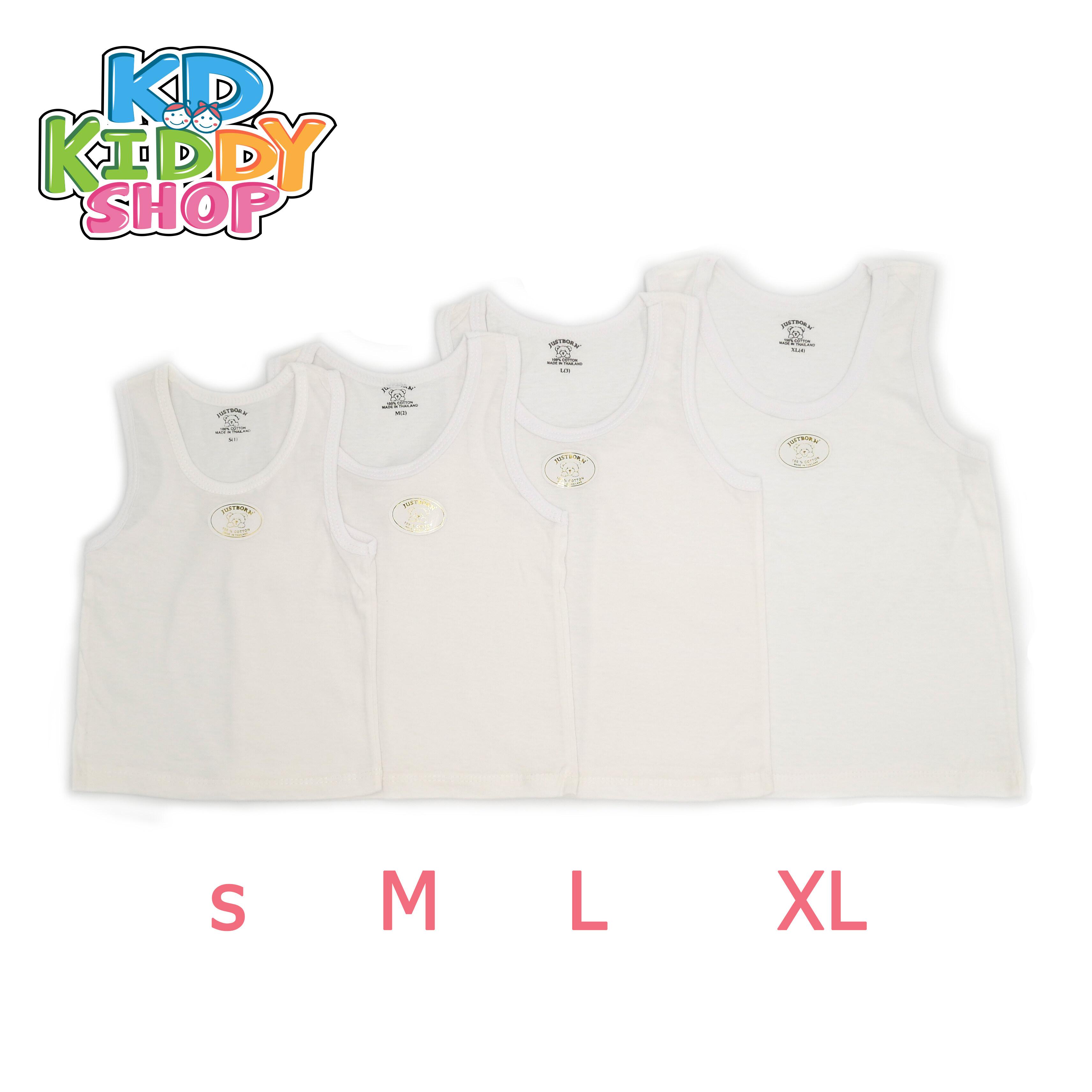 เสื้อกล้ามเด็กสีขาว Justborn ผ้า Cotton 100% Made In Thailand พร้อมส่ง.
