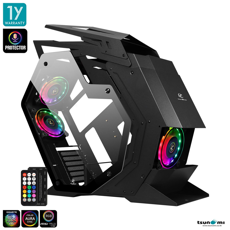 Tsunami Protector Beast KK ARGB Sound Sync Tempered Glass Mutant ATX Gaming Case + Protector 1262 12CM ARGB Cooling Fan x 3pcs