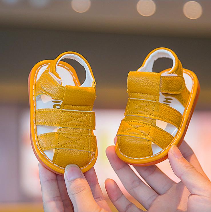 baby-Fรองเท้าเด็กเล็ก ระบายอากาศ มีรัดส้น ถอดปรับได้ 3 สี เหลือง ชมพู ขาว (มีเสียงเวลาเดิน) #B222