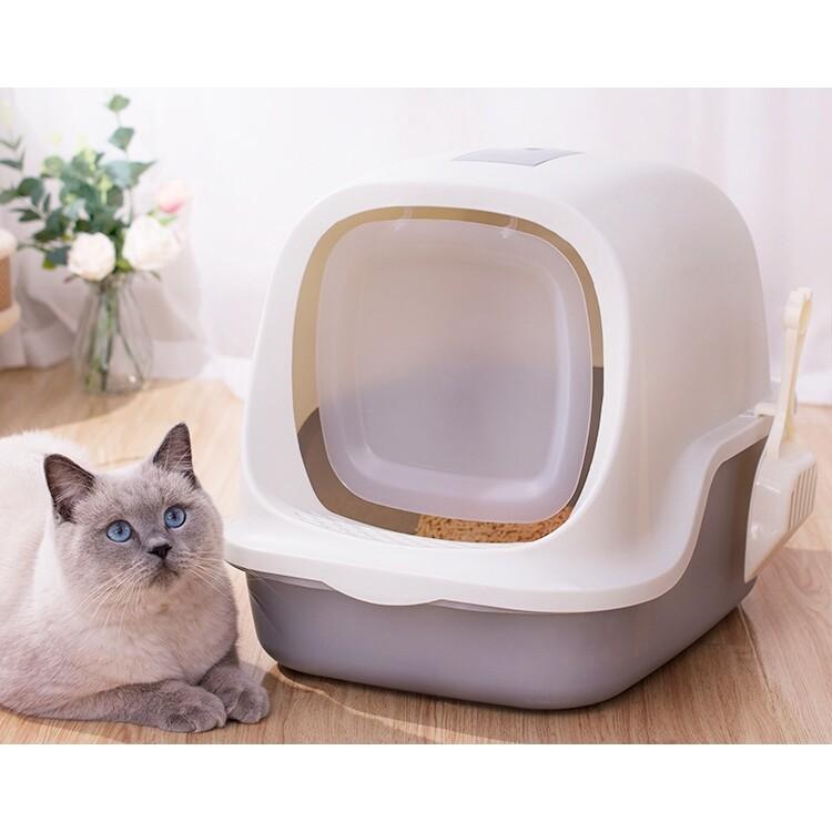 Cat Little Box ห้องน้ำแมวทรงโดม ห้องน้ำแมว กระบะทรายแมว รุ่น ฝาเปิดเต็มใบ สินค้าดี ราคถูกจัดส่งในประเทษไทย P087.