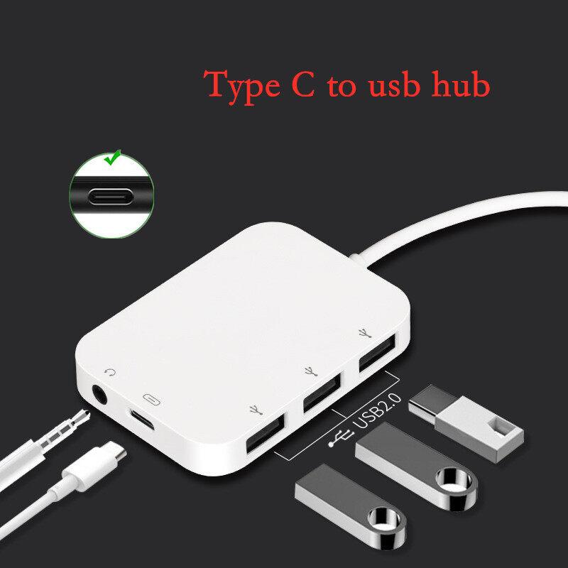อลูมิเนียม ช่องต่อ Usb 4ช่อง/ High Speed Hub Support Otg/card Reader/mouse/keyboard/usb 2.0 Type C Otg Type C Hub Usb To Usb Type C To Usb Type C To 3.5mm.