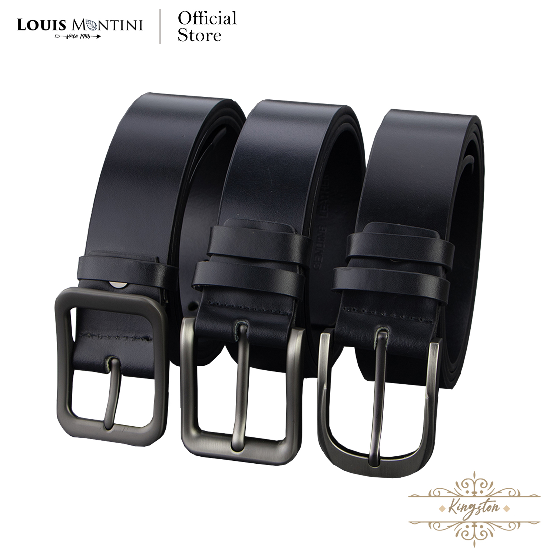 Louis Montini (classic) เข็มขัดผู้ชาย หนังวัวเส้นใหญ่ 1.5 นิ้ว หนังเรียบรูขน เข็มขัดหนังแท้ Mens Belt - Mgn143.