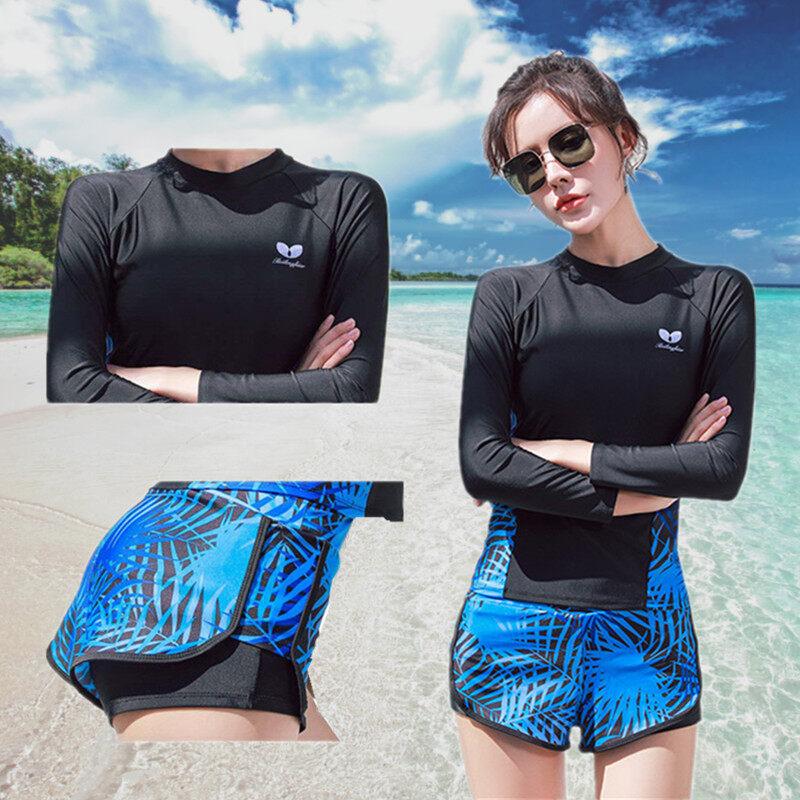 Women Swimsuit ชุดว่ายน้ำแขนยาวผู้หญิงแฟชั่นระดับไฮเอนด์ป้องกันรังสี Uv ชุดว่ายน้ำสองชิ้นไซส์ L Xl Xxl Beachwear.