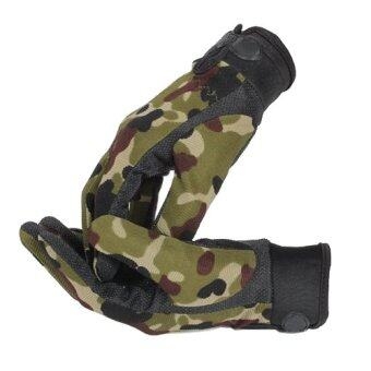 Harga JANGO Outdoor Military CS Tactical Airsoft Shooting Hunting Sports Exercise Full Finger Gloves (Camo) - intl