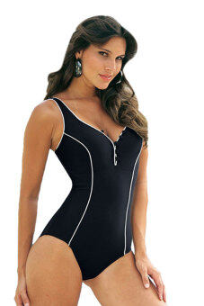 Harga Cyber Button Push Up One-Piece Swimsuit (Black)