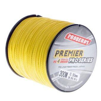 Harga Pro 300M Super Strong 4 Stands PE Braided Fishing Line Rope Cord New (8.0,Yellow) - intl