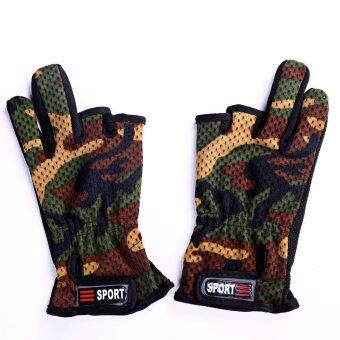 Harga Fishing gloves antiskid camouflage to show three gloves