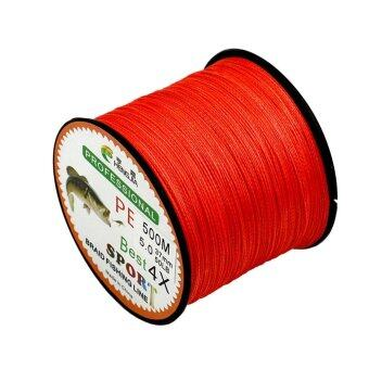 Harga 4 Strands Super Strong Durable PE Braided Fishing Line 500M Red 1.5 - intl
