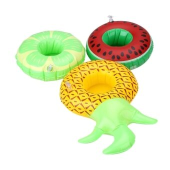 Harga 3Pcs Swim Boat Inflatable Water Fruit Cup Floating Coke Can Holder Pool - intl