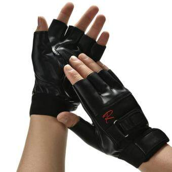 Harga Mens Weight Lifting Gym Exercise Training Sport Fitness Sports PU Leather Gloves Black