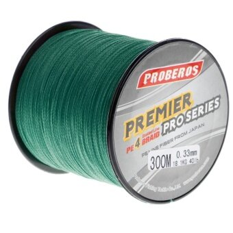 Harga Pro 300M Super Strong 4 Stands PE Braided Fishing Line Rope Cord New (4.0,Green) - intl