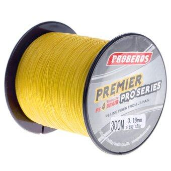 Harga Pro 300M Super Strong 4 Stands PE Braided Fishing Line Rope Cord New (1.0,Yellow) - intl