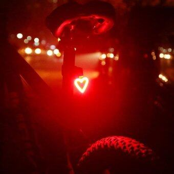 Harga USB Rechargeable Bike Tail Light Waterproof Circle Bone Heart Shaped Cycling Night Warning Rear light - intl