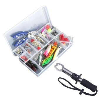 PAlight 100 pcs Fishing Lure Kit Lure With Hook Isca ArtificialBait Set + Fishing Gripper - intl