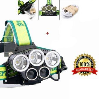 Skywolfeye ไฟฉายคาดหัว 10000Lumens USB light 5 Mode 3 CREE XML T6 + 2 LED Headlight Headlamp Rechargeable Flashlight Head lights lamp ไม่มีกล่องและแบต