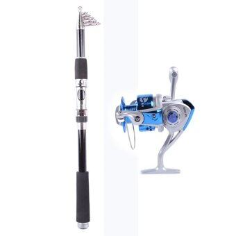 Harga Whale Portable Carbon Fishing Rod Fishing Pole 2.1M+Rocker ReelFishing Spool Vessel Fish Reel Rod Sea Spinning Wheel Line GearFB1000 (Blue)