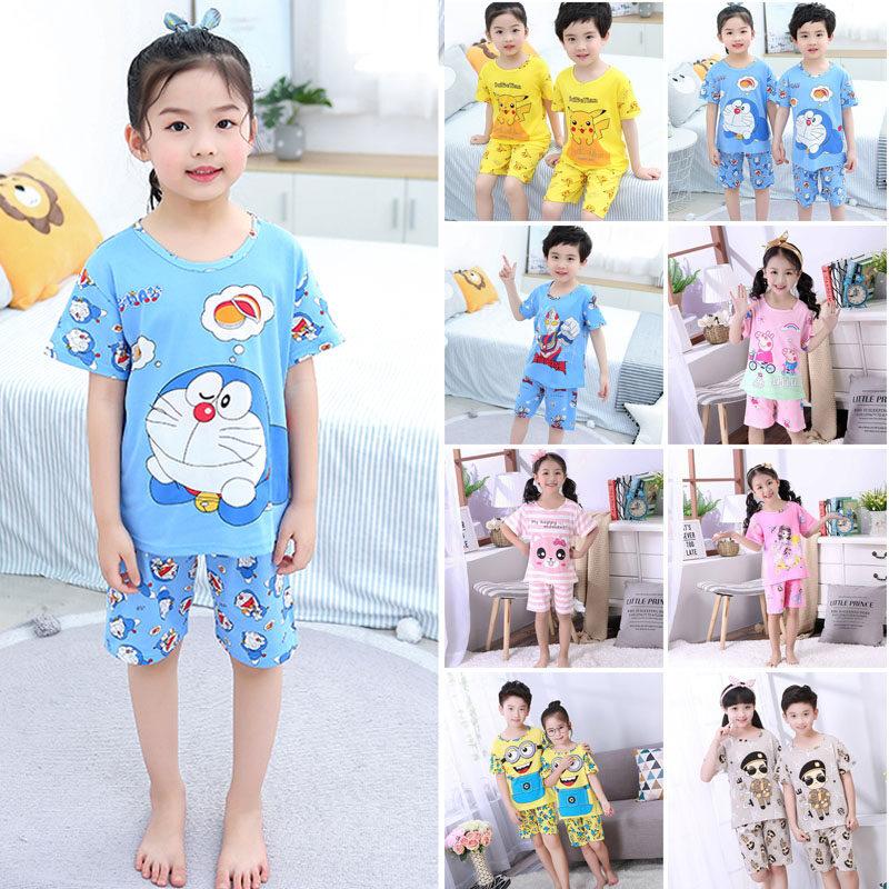 ชุดนอนเด็ก ผ้าฝ้ายฤดูใบไม้ร่วงแขนสั้น เสื้อผ้าเด็กขนาดใหญ่ ชุดนอนผู้เด็กชาย ชุดนอนเด็กผู้หญิง ชุดนอนลายการ์ตูน.