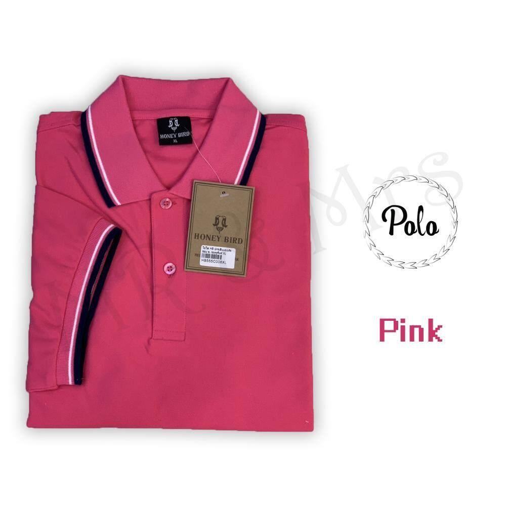 เสื้อโปโลชาย เสื้อคอปกชาย แขนสั้น แบบคลีบ POLO ผ้าCOTTON (สีชมพู)