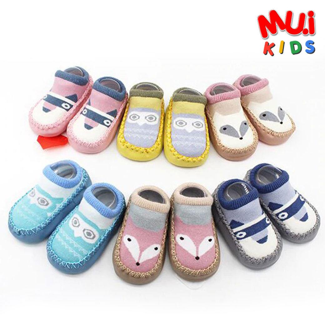 Muikid รองเท้าเด็กหัดเดิน รองเท้าเด็กเล็ก รองเท้าเด็กทารก รองเท้าพื้นนุ่ม สำหรับเด็กเล็ก มีหลายสี มีกันลื่นในตัว.