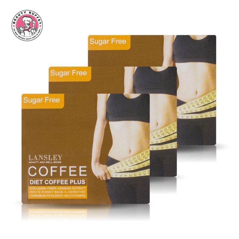 (แพ็ค 3 กล่อง) BEAUTY BUFFET LANSLEY DIET COFFEE PLUS แลนซ์เลย์ กาแฟ พลัส (13g. / 1 กล่องมี 10 ซอง)