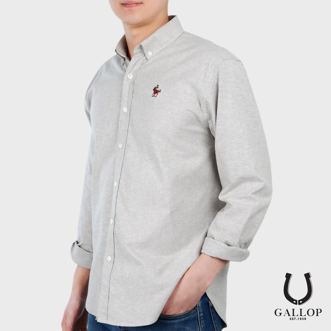 Gallop : Oxford Casual Shirt เสื้อเชิ๊ตแขนยาว ผ้า Oxford รุ่น Gwp9003 สีเทา.