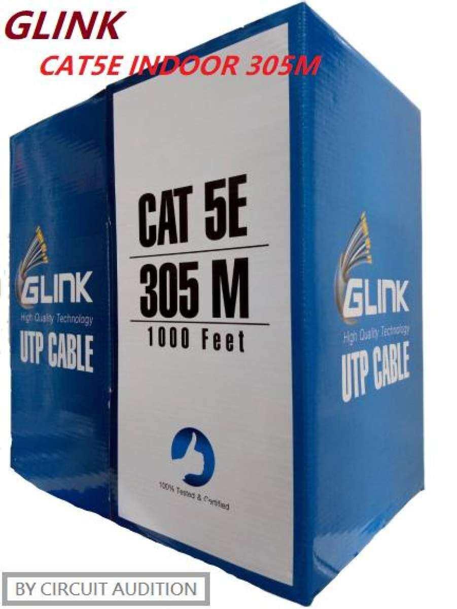 Glink สายแลน Lan Cat5e Utp Indoor รุ่น Gl-5004 ความยาว 305 เมตร สำหรับใช้ภายใน(สีขาว).