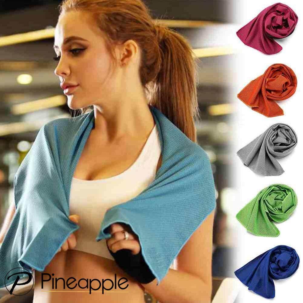 Pineapple-ผ้าเช็ดเหงื่อ ผ้าไมโครไฟเบอร์ผ้าทำความเย็นแบบเร็วแห้งเร็วผ้าเย็นฟิตเนสโยคะปีนเขาการออกกำลังกายผ้าขนหนูกลางแจ้ง Ice towel MJ102