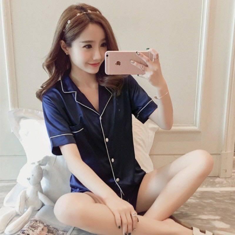 3333 เสื้อชุดนอนน่ารักๆ ผ้าซาตินใส่สบายผ้านิ่มไม่เครืองผิด สไตล์เกาหลี (สินค้าพร้อมส่ง).