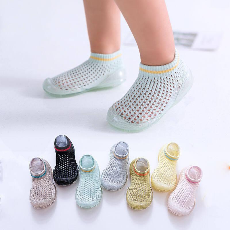 New รองเท้าหัดเดิน พื้นยางใส นิ่ม ใส่สบาย ผ้าถักตาข่าย ระบายอากาศดีเว่อร์ A46.