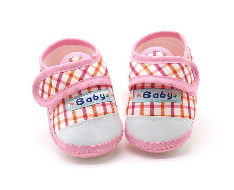 Babyonline(X082)E3รองเท้าสก็อตสำหรับเด็กมีกันลื่น