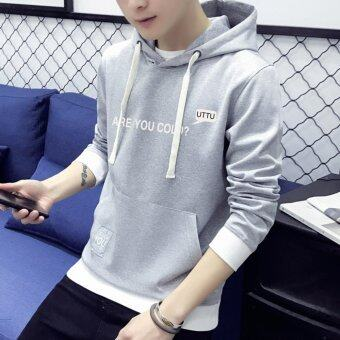 2017 New arrival top quality cotton hooded casual brand young menhoodies luxury male spring autumn winter fashion sweatshirts (Grey)- intl