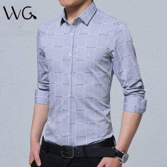 2017 New Fashion Casual Men Shirt Long Sleeve Mandarin Collar SlimFit Shirt Men Formal Business Mens Dress Shirts Men Clothes (Grey)- intl