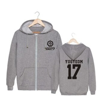 ALIPOP KPOP Korean Fashion GOT7 Meeting Album Concert Cotton ZipperAutumn Hoodies Clothes Zip-up Sweatshirts PT435(YUGYEOM Gray) -intl