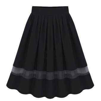 Harga Amart Elegant Organza Silk Pleated Skirts Fabric Splicing Skirt -intl