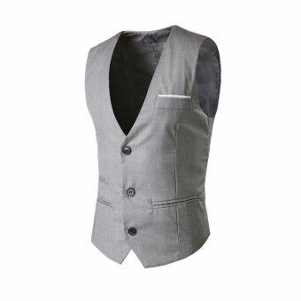 Amart Fashion Men Vest Formal Business Waistcoat Sleeveless SlimFit Suit Coat - intl