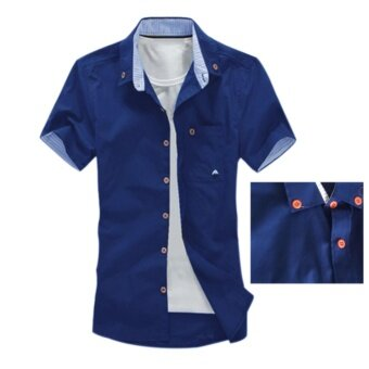 Amart Summer Men Casual Shirts Short Sleeves Mushroom EmbroideryFashion Tops (Navy Blue) - intl