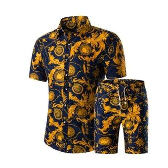 Amart Summer Men Suits T-shirt + Shorts Decorative Pattern Sets -intl