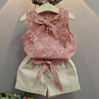 Baby Girls Summer Clothes Suits Floral Print Sleeveless T-shirt +Short Pants Clothing Set - intl