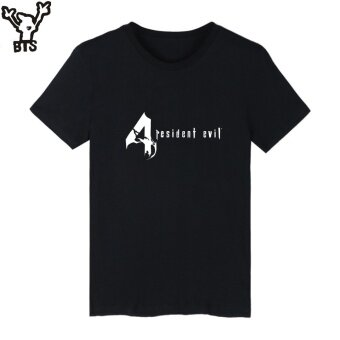 BTS Resident Evil Funny Graphic Tshirts Summer Short Sleeve T-shirtMen Funny Fashion O-Neck Casual Tee Shirt 001 (Black) - intl