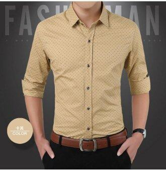 Business Men Long Sleeve Purified Cotton Shirt SlimVentilation Polka Dot Shirt-Khaki - intl
